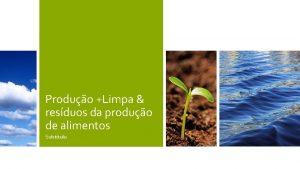 Produo Limpa resduos da produo de alimentos Subttulo