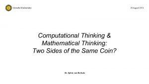 26 August 2019 Computational Thinking Mathematical Thinking Two