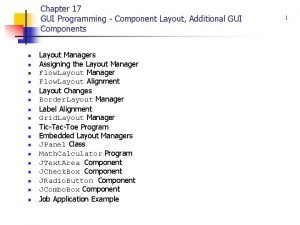 Chapter 17 GUI Programming Component Layout Additional GUI