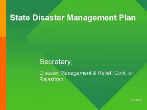 State Disaster Management Plan Secretary Disaster Management Relief