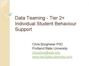 Data Teaming Tier 2 Individual Student Behaviour Support