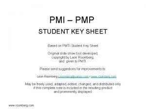 PMI PMP STUDENT KEY SHEET Based on PMTI