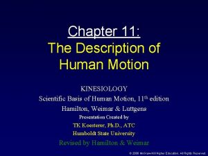 Chapter 11 The Description of Human Motion KINESIOLOGY