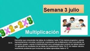 Semana 3 julio Multiplicacin OA 8 Demostrar que