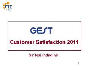 Customer Satisfaction 2011 Sintesi indagine 1 Obiettivi dellindagine