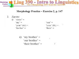 Morphology Practice Ch 4 Morphology HW Exercise Answers