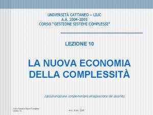 UNIVERSIT CATTANEO LIUC A A 2004 2005 CORSO