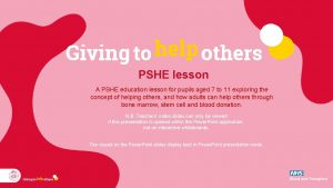 PSHE lesson A PSHE education lesson for pupils