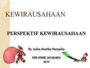 KEWIRAUSAHAAN PERSPEKTIF KEWIRAUSAHAAN By Indra Martha Nuryadin STIESTMIK