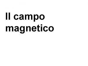Il campo magnetico La magnetite ha la propriet
