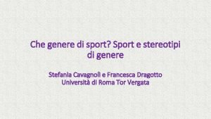 Che genere di sport Sport e stereotipi di