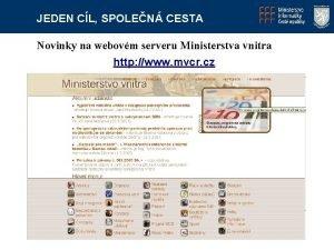 JEDEN CL SPOLEN CESTA Novinky na webovm serveru