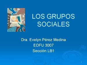 LOS GRUPOS SOCIALES Dra Evelyn Prez Medina EDFU