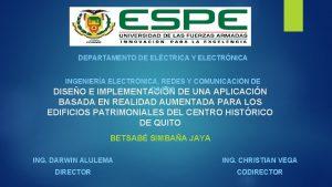 DEPARTAMENTO DE ELCTRICA Y ELECTRNICA INGENIERA ELECTRNICA REDES