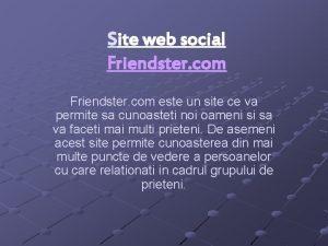 Site web social Friendster com este un site