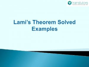 Introduction Coplanar Concurrent Systemof Forces Lamis Theorem Examples