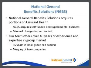National General Benefits Solutions NGBS National General Benefits