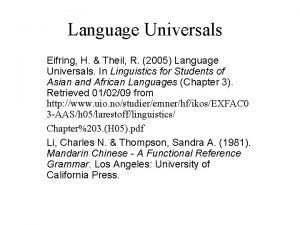 Language Universals Eifring H Theil R 2005 Language