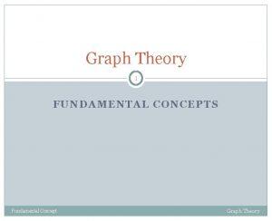 Graph Theory 1 FUNDAMENTAL CONCEPTS Fundamental Concept Graph