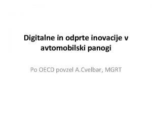 Digitalne in odprte inovacije v avtomobilski panogi Po