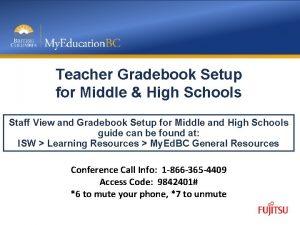 Teacher Gradebook Setup for Middle High Schools Staff
