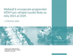 Webin k rozvojovm programm MMT pro veejn vysok