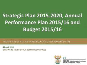 Strategic Plan 2015 2020 Annual Strategic Plan 201217