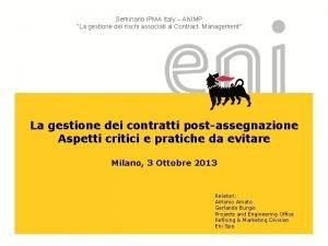 Seminario IPMA Italy ANIMP La gestione dei rischi