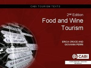 CABI TOURISM TEXTS 2 nd Edition Food and