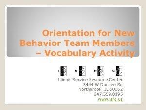Orientation for New Behavior Team Members Vocabulary Activity