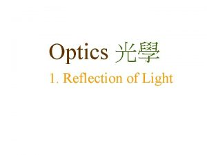Optics 1 Reflection of Light Reflection Light rays