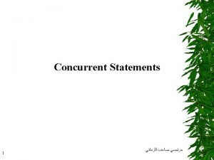 Concurrent Statements 2 Concurrent statements are executed at