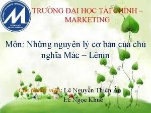TRNG I HC TI CHNH MARKETING Mn Nhng