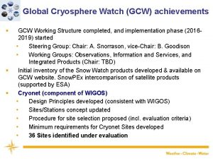 Global Cryosphere Watch GCW achievements GCW Working Structure
