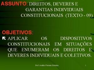 ASSUNTO DIREITOS DEVERES E GARANTIAS INDIVIDUAIS CONSTITUCIONAIS TEXTO