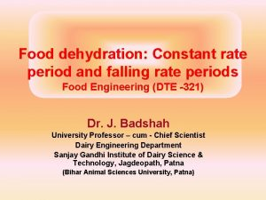 Food dehydration Constant rate period and falling rate