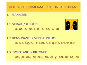 HOE ALLES INMEKAAR PAS IN AFRIKAANS 1 KLANKLEER