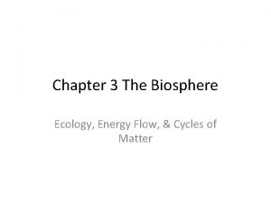 Chapter 3 The Biosphere Ecology Energy Flow Cycles