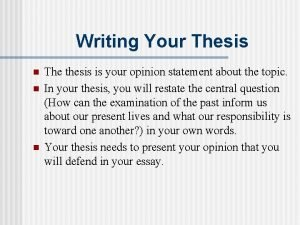 Writing Your Thesis n n n The thesis