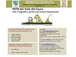 POTD del Valle del Cauca Fase I Diagnstico