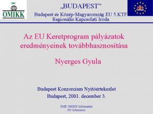 BUDAPEST Budapest s KzpMagyarorszg EU 5 KTF Regionlis