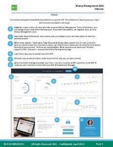 Money Management QHG Observe Your Money Management dashboard