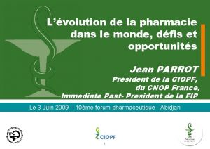 Lvolution de la pharmacie dans le monde dfis