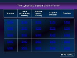 The Lymphatic System and Immunity Anatomy Innate Nonspecific