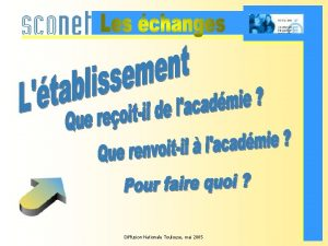 Diffusion Nationale Toulouse mai 2005 Les tches de