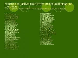 AFILIADOS DEL SERVICIO BIENESTAR GOBIERNO REGIONAL DE LOS