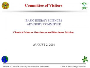 Committee of Visitors BASIC ENERGY SCIENCES ADVISORY COMMITTEE