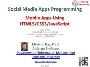 Tamkang University Social Media Apps Programming Mobile Apps