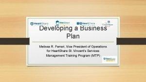 Developing a Business Plan Melissa R Ferrari Vice