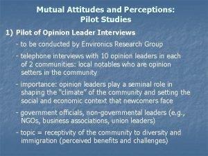 Mutual Attitudes and Perceptions Pilot Studies 1 Pilot